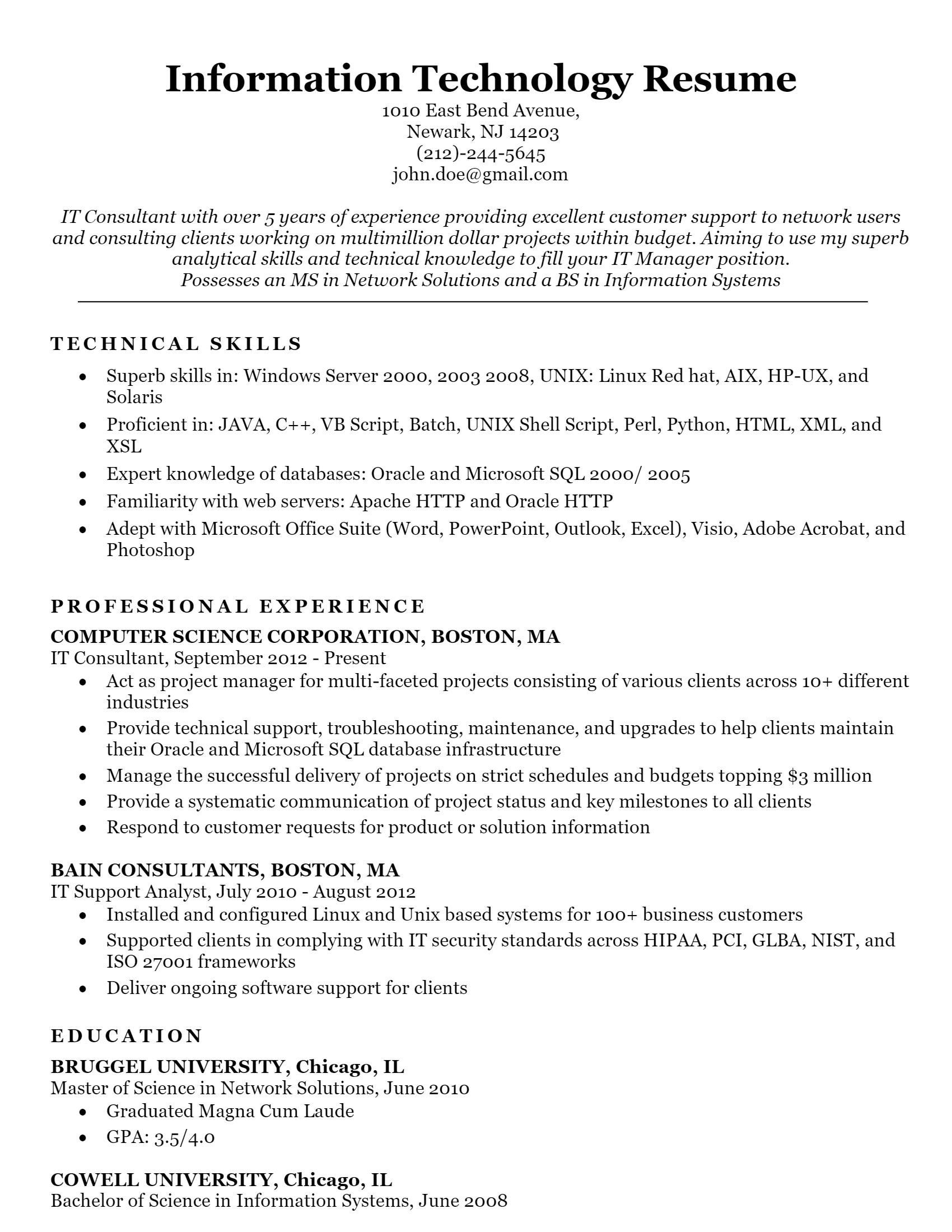 IT Resume > IT Resume .Docx (Word)