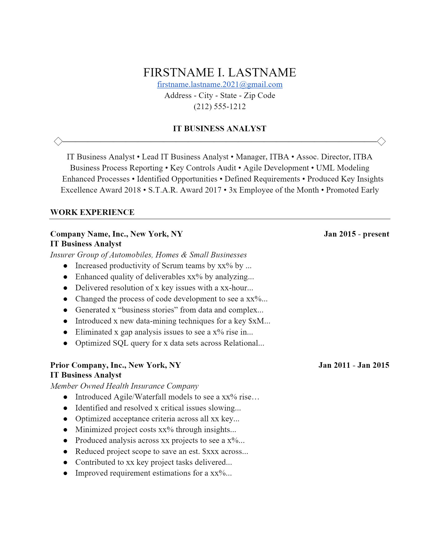 IT Analyst Resume .Docx (Word)