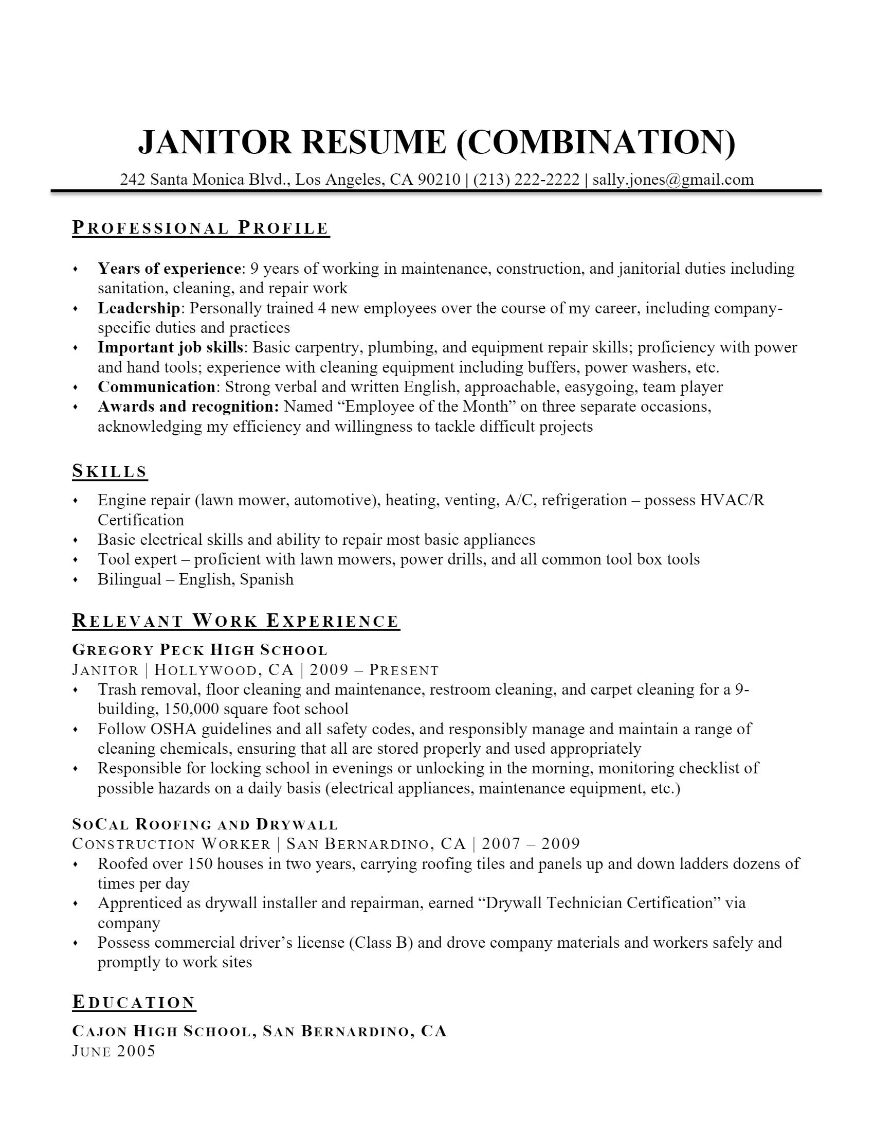 Janitor Resume > Janitor Resume .Docx (Word)