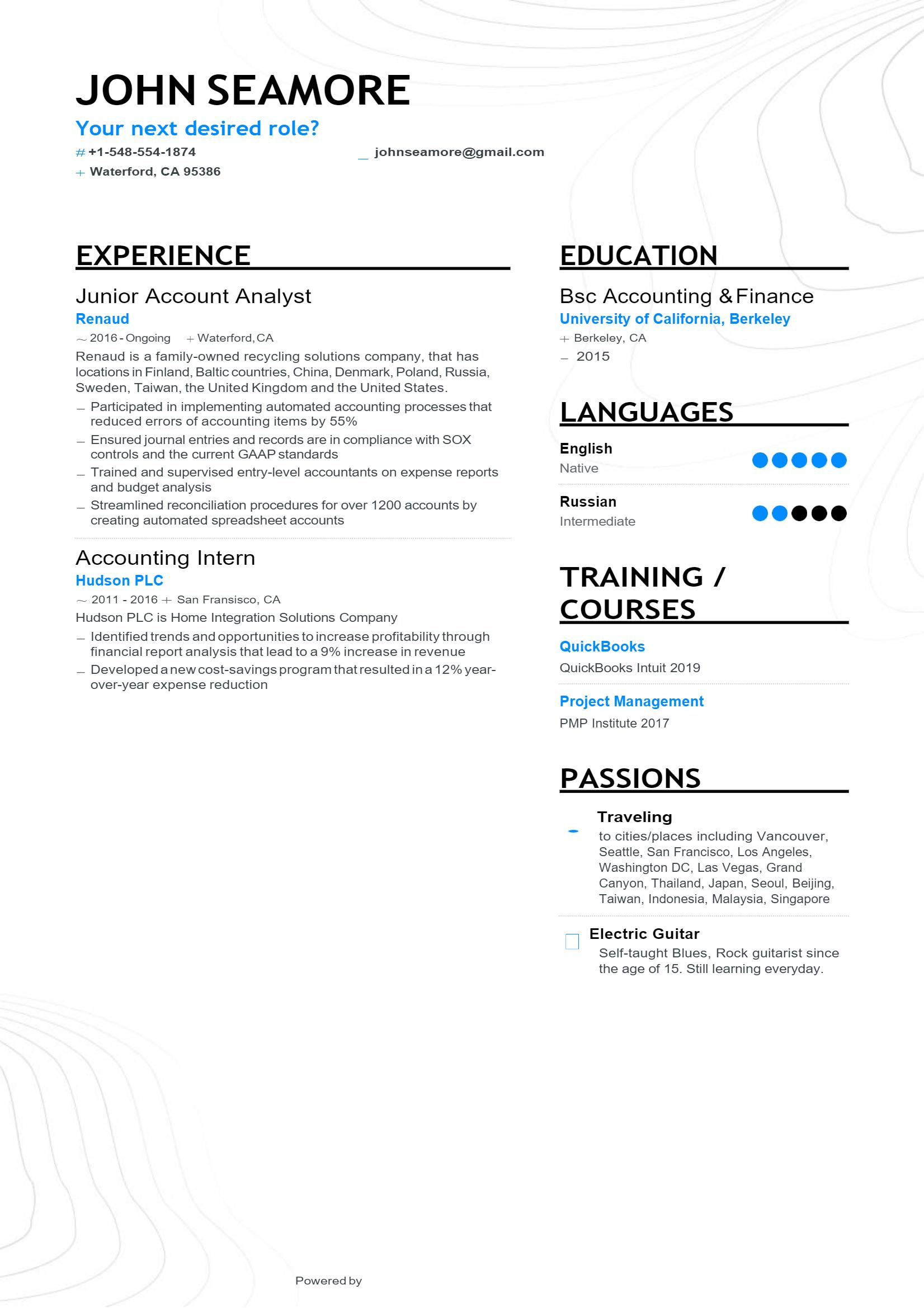 Junior Analyst Resume .Docx (Word)