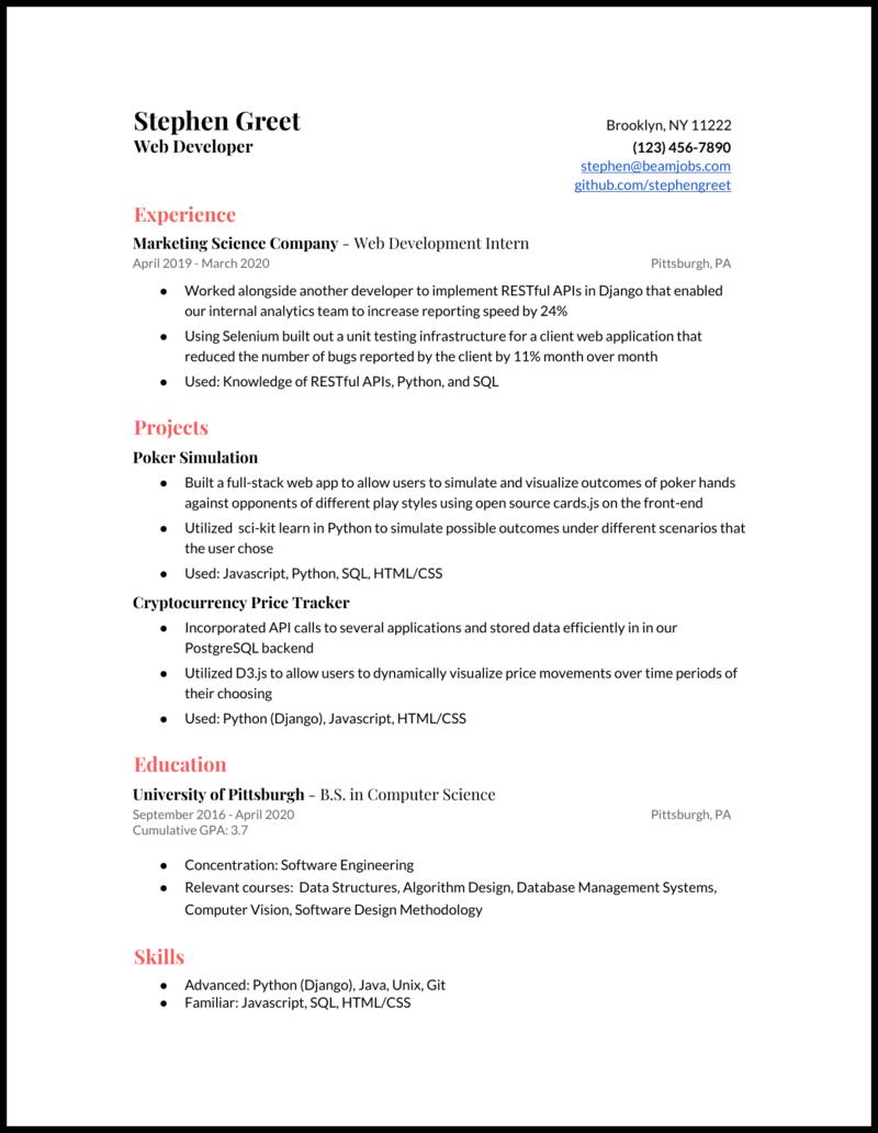 Junior Web Developer Resume Example