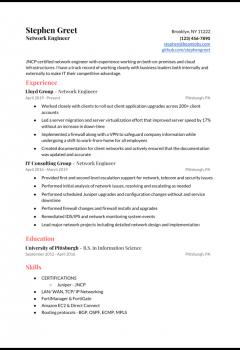 Juniper Network Engineer Resume