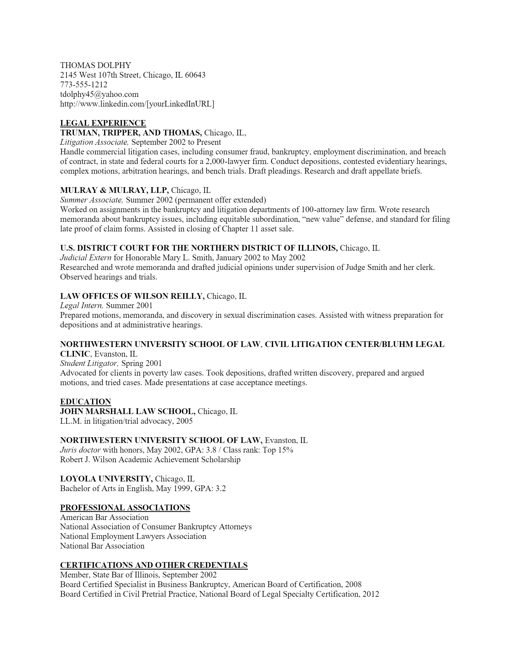 Law Resume .Docx (Word)