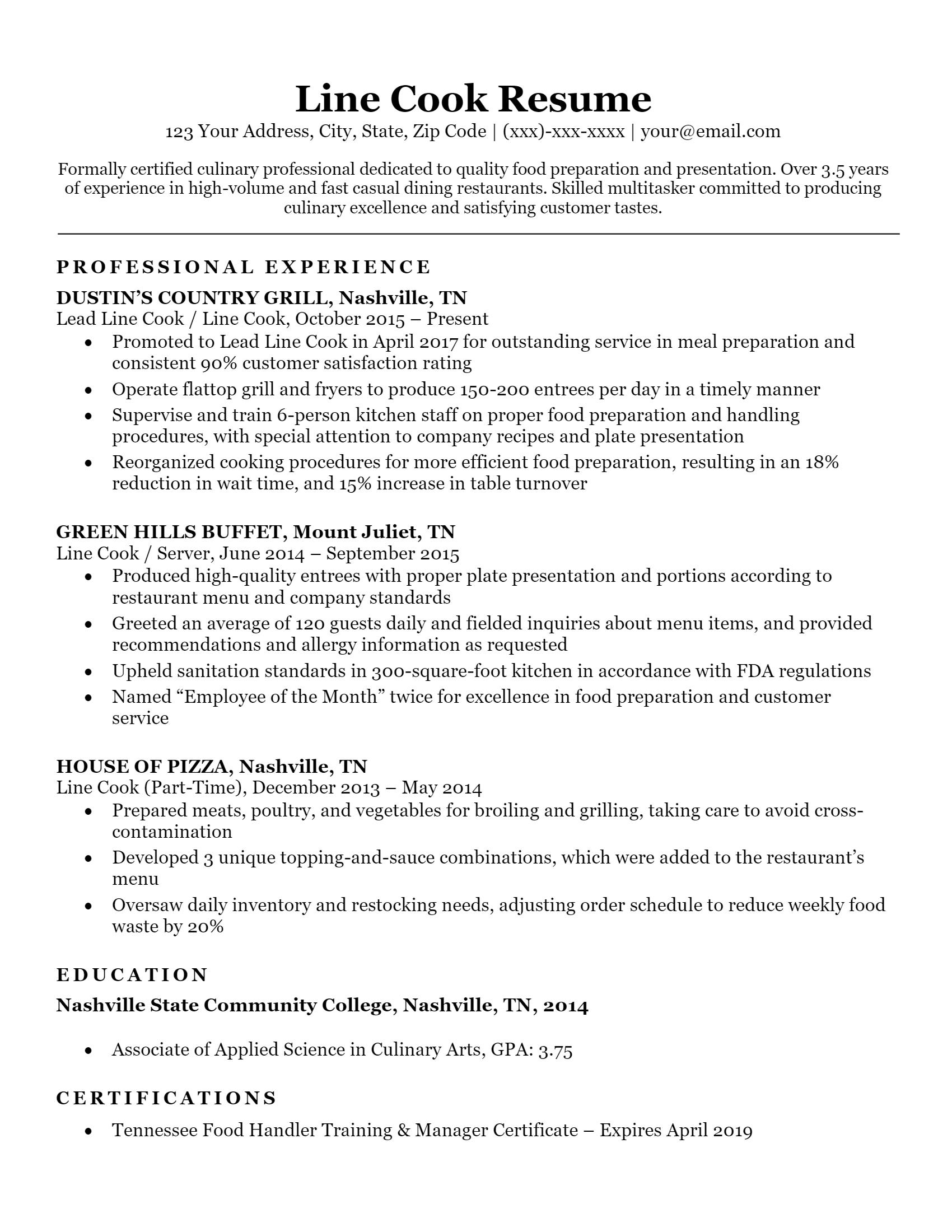 Line Cook Resume > Line Cook Resume .Docx (Word)