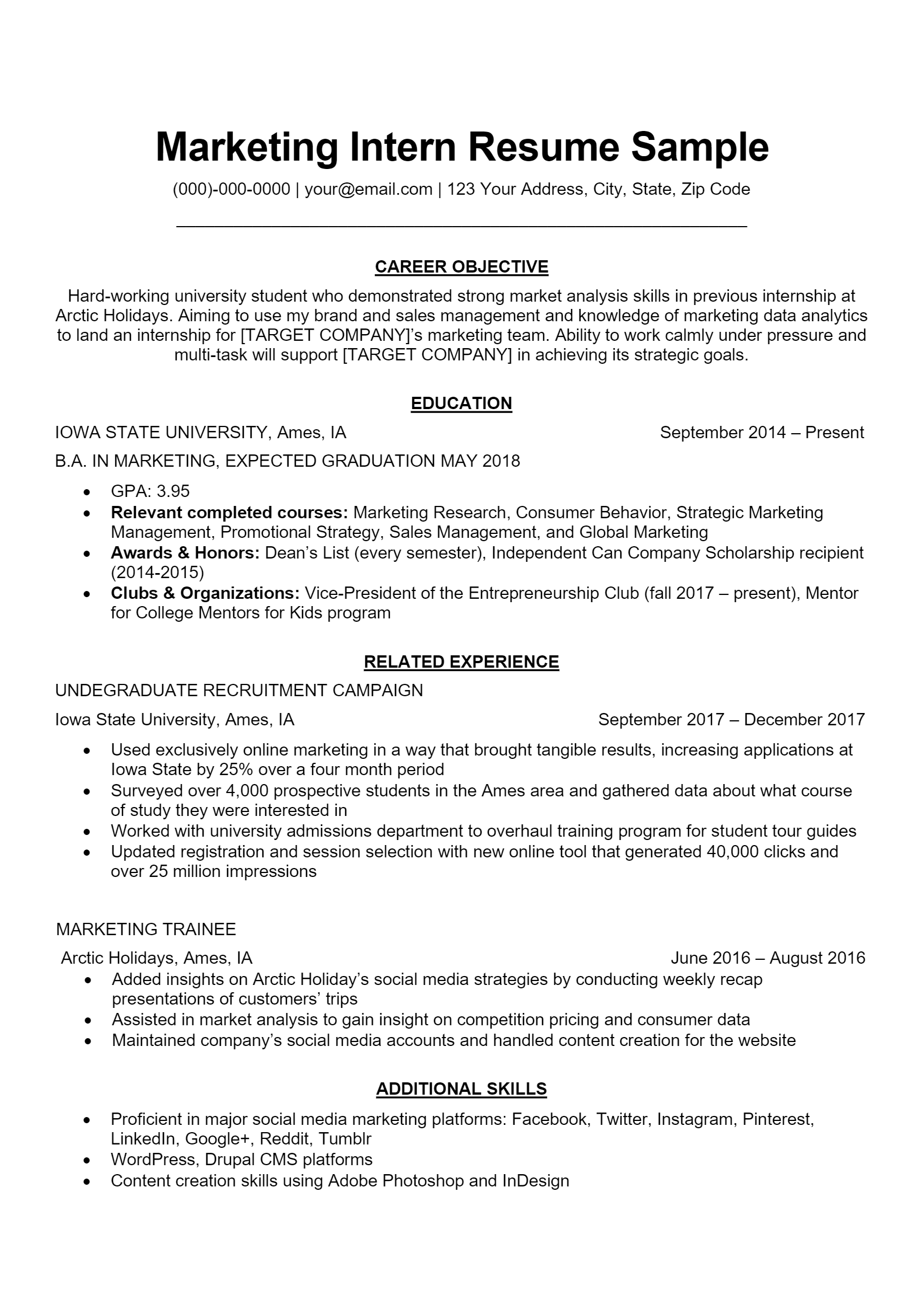 Marketing Intern Resume > Marketing Intern Resume .Docx (Word)