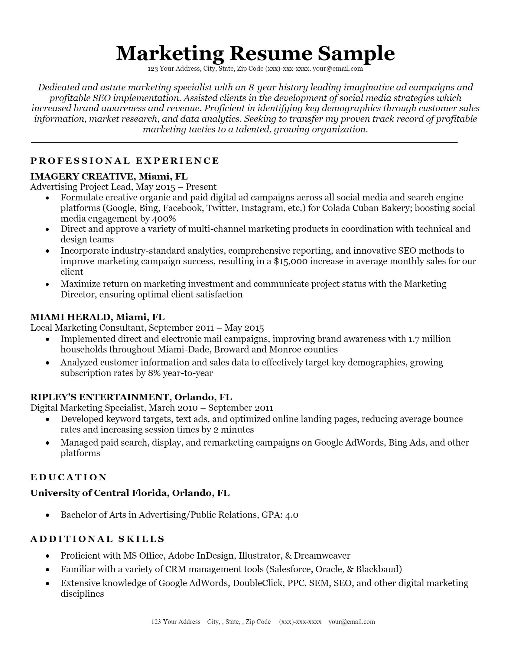 Marketing Resume> Marketing Resume .Docx (Word)