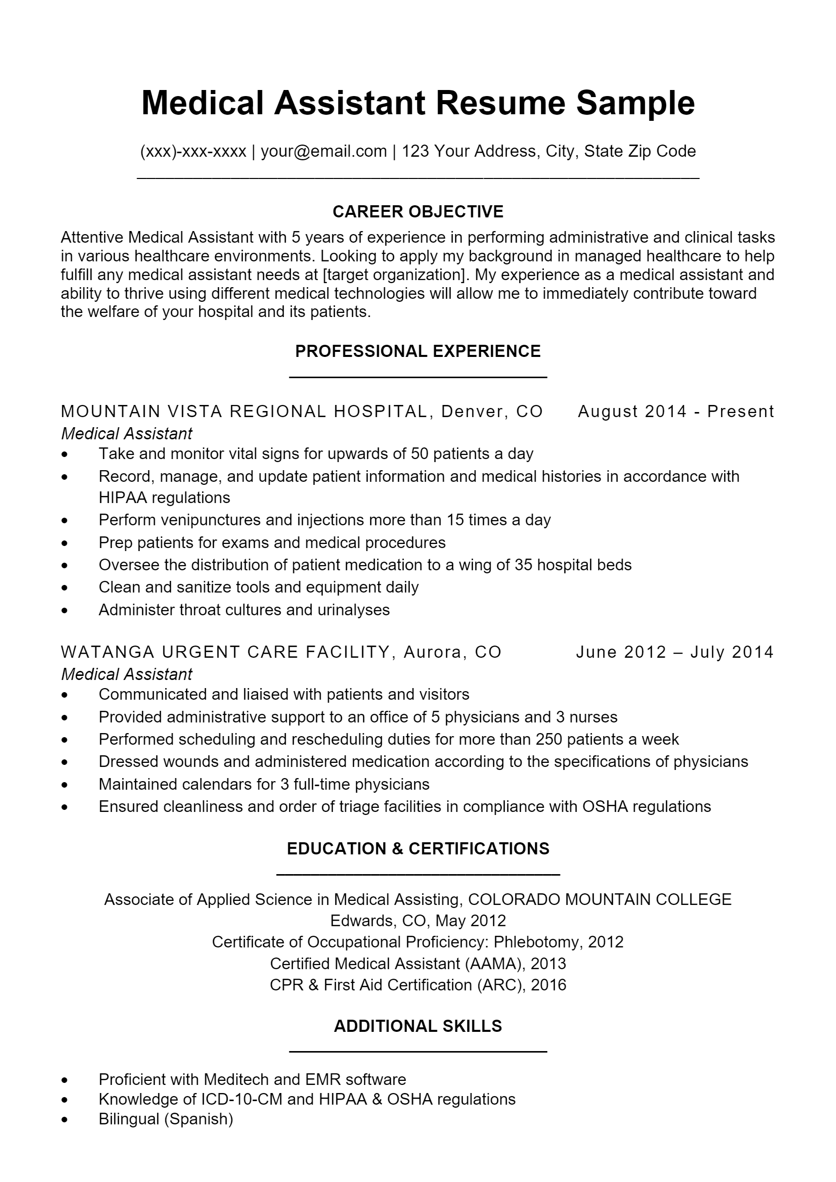 Medical Assistant Resume .Docx (Word)