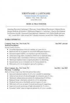 Medical Practitioner Resume