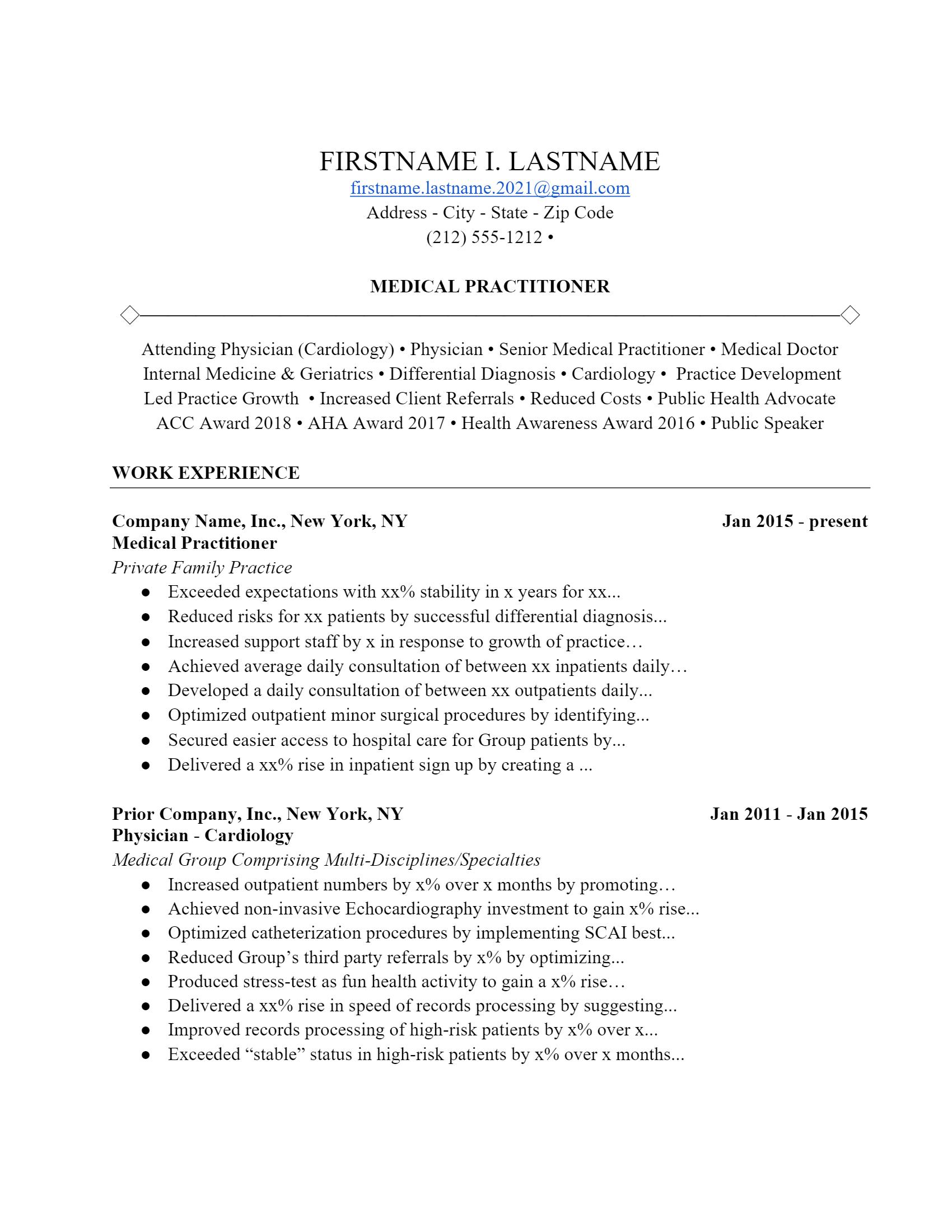 Medical Practitioner Resume .Docx (Word)