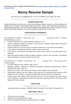 Nanny Resume .Docx (Word)