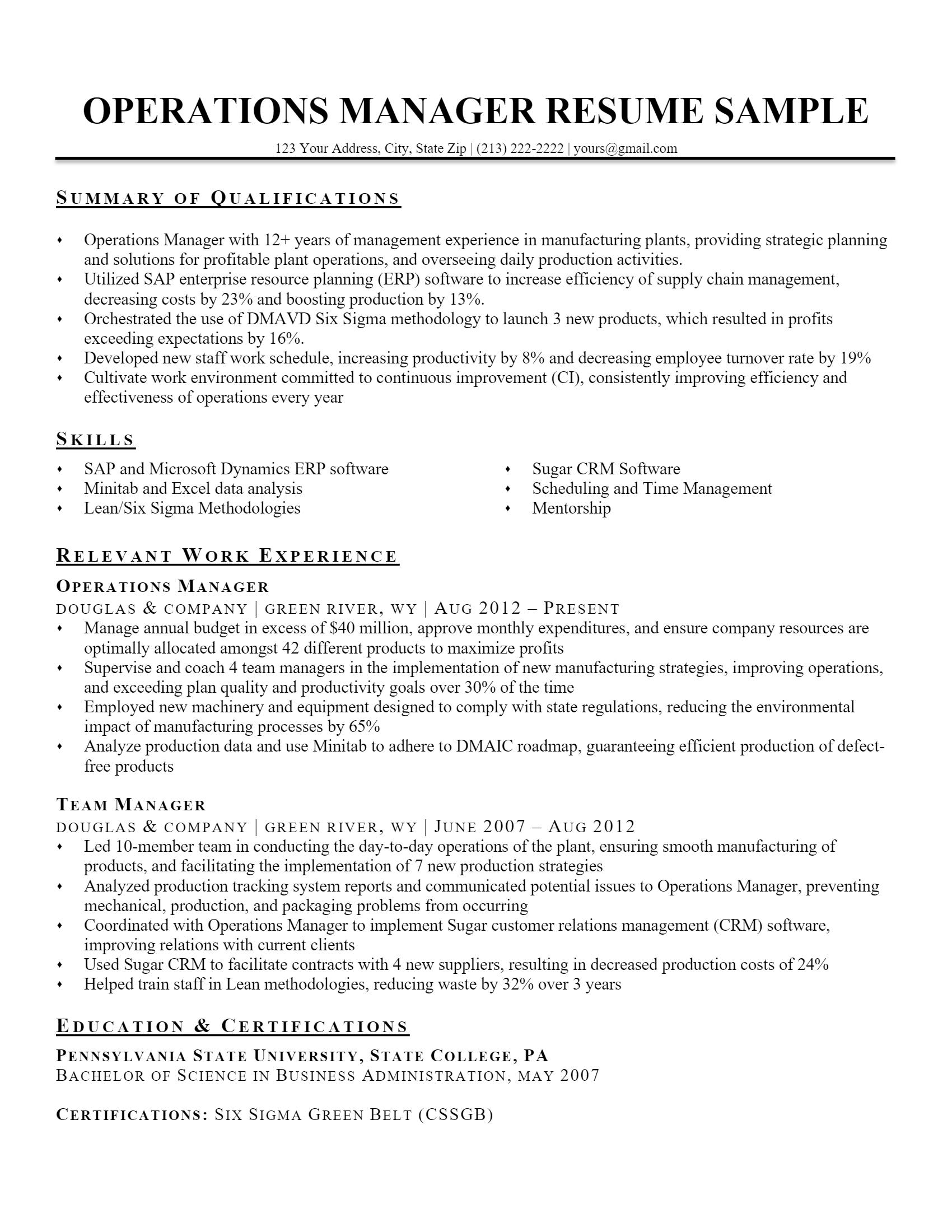 Operations Manager Resume > Operations Manager Resume .Docx (Word)