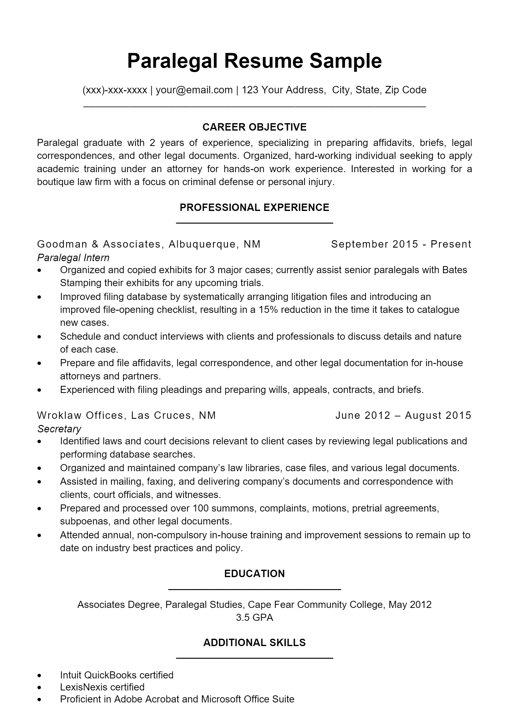 Paralegal Resume .Docx (Word)