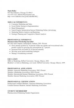Pharmaceutical Marketing Resume