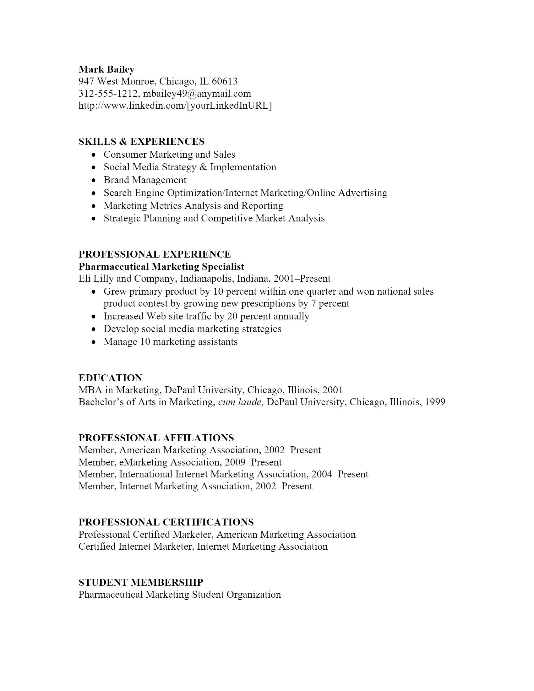 Pharmaceutical Marketing Resume > Pharmaceutical Marketing Resume .Docx (Word)