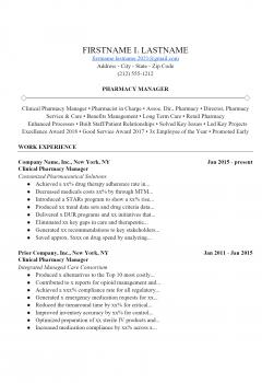 Pharmacist Resume