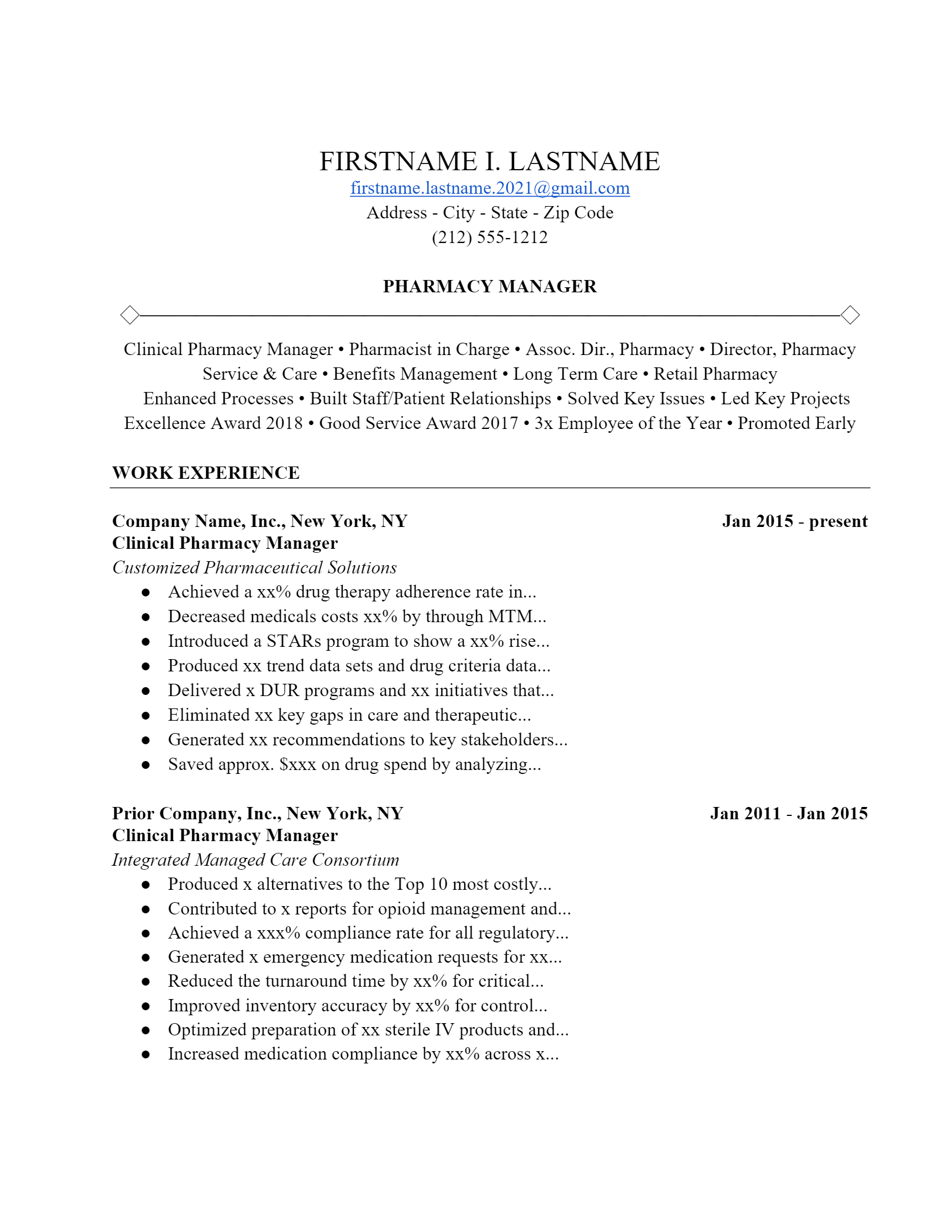 Pharmacist Resume > Pharmacist Resume .Docx (Word)