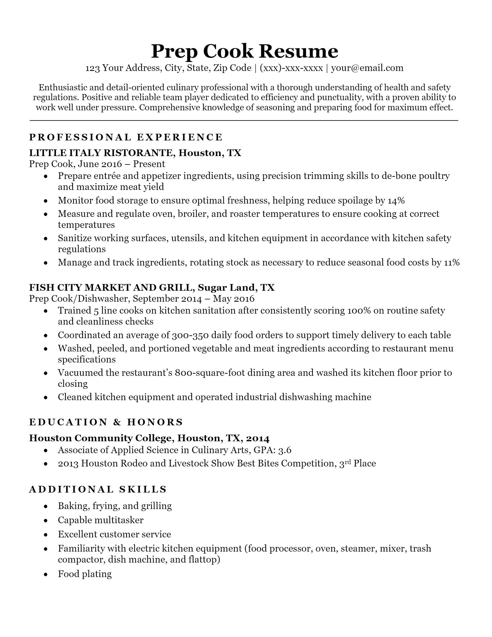 Prep Cook Resume .Docx (Word)