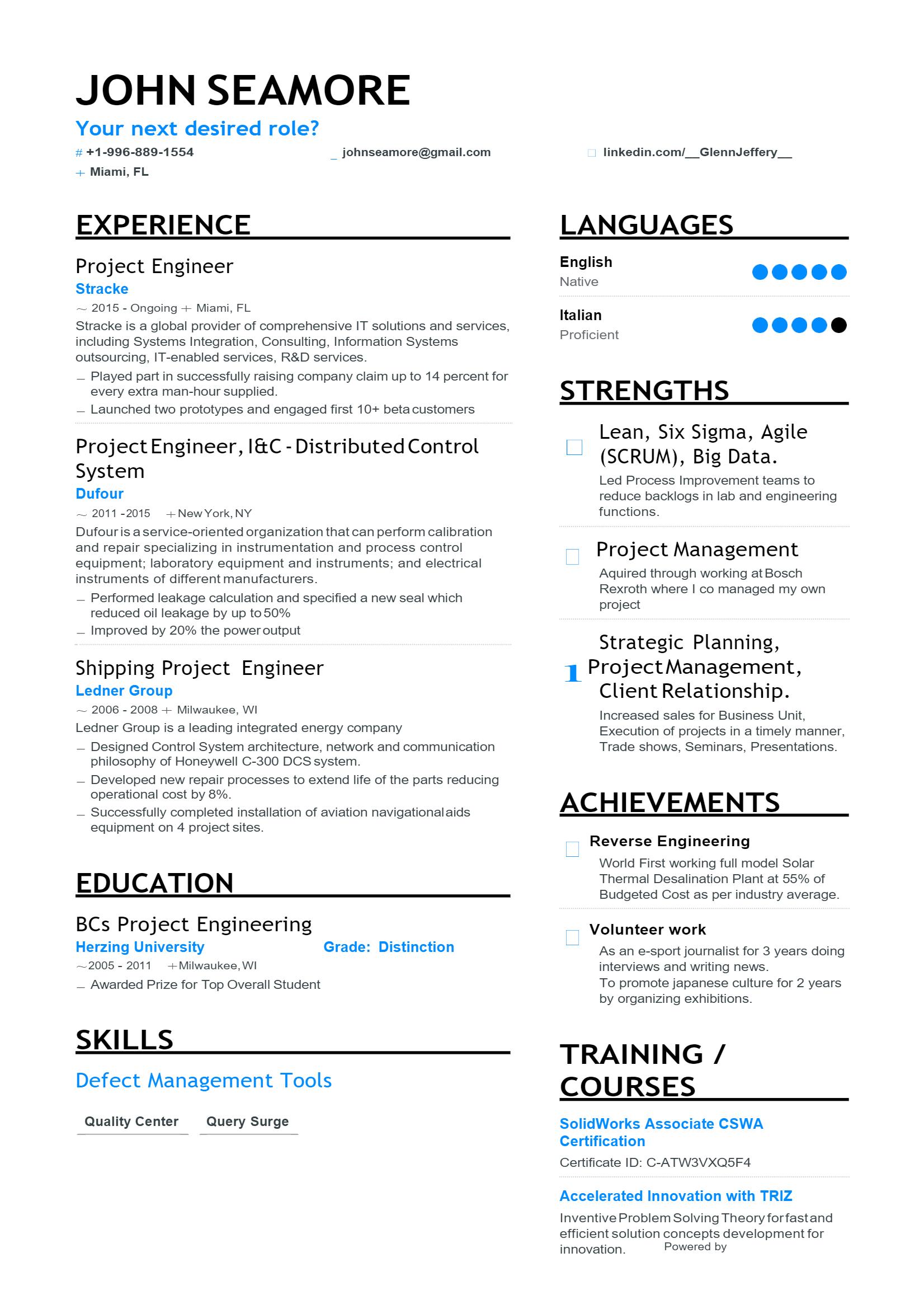 Project Engineer Resume > Project Engineer Resume .Docx (Word)