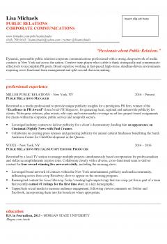 Public Relation Resume