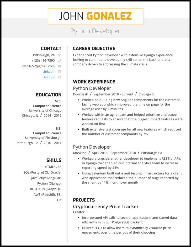 Python Developer Resume Sample