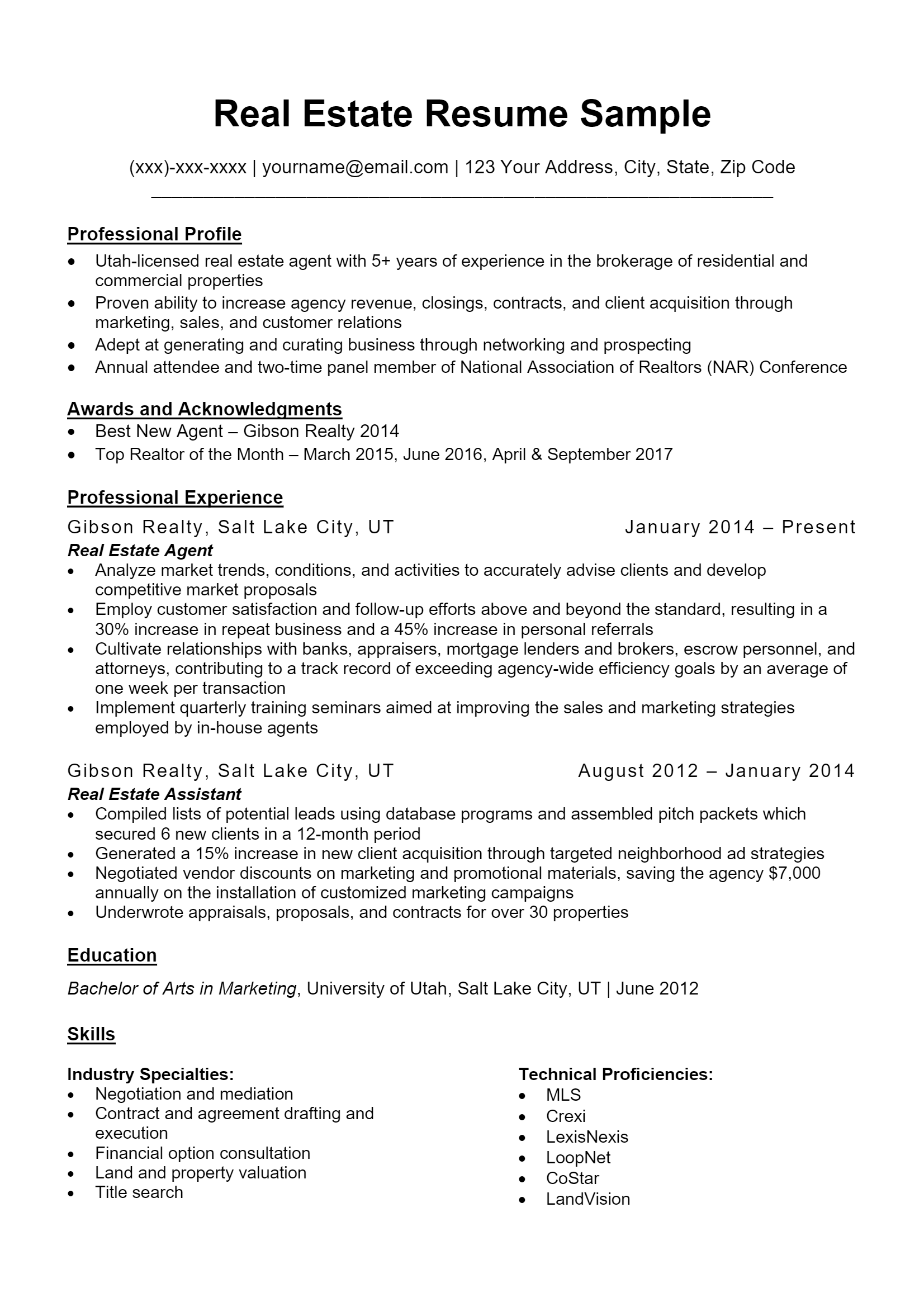 Real Estate Agent Resume > Real Estate Agent Resume .Docx (Word)