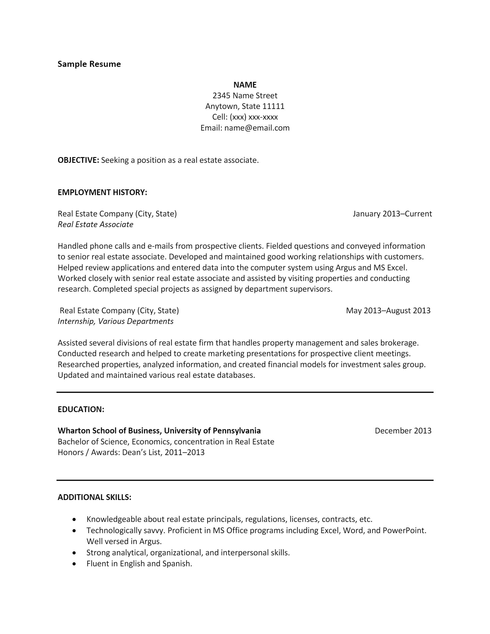 Real Estate Resume > Real Estate Resume .Docx (Word)