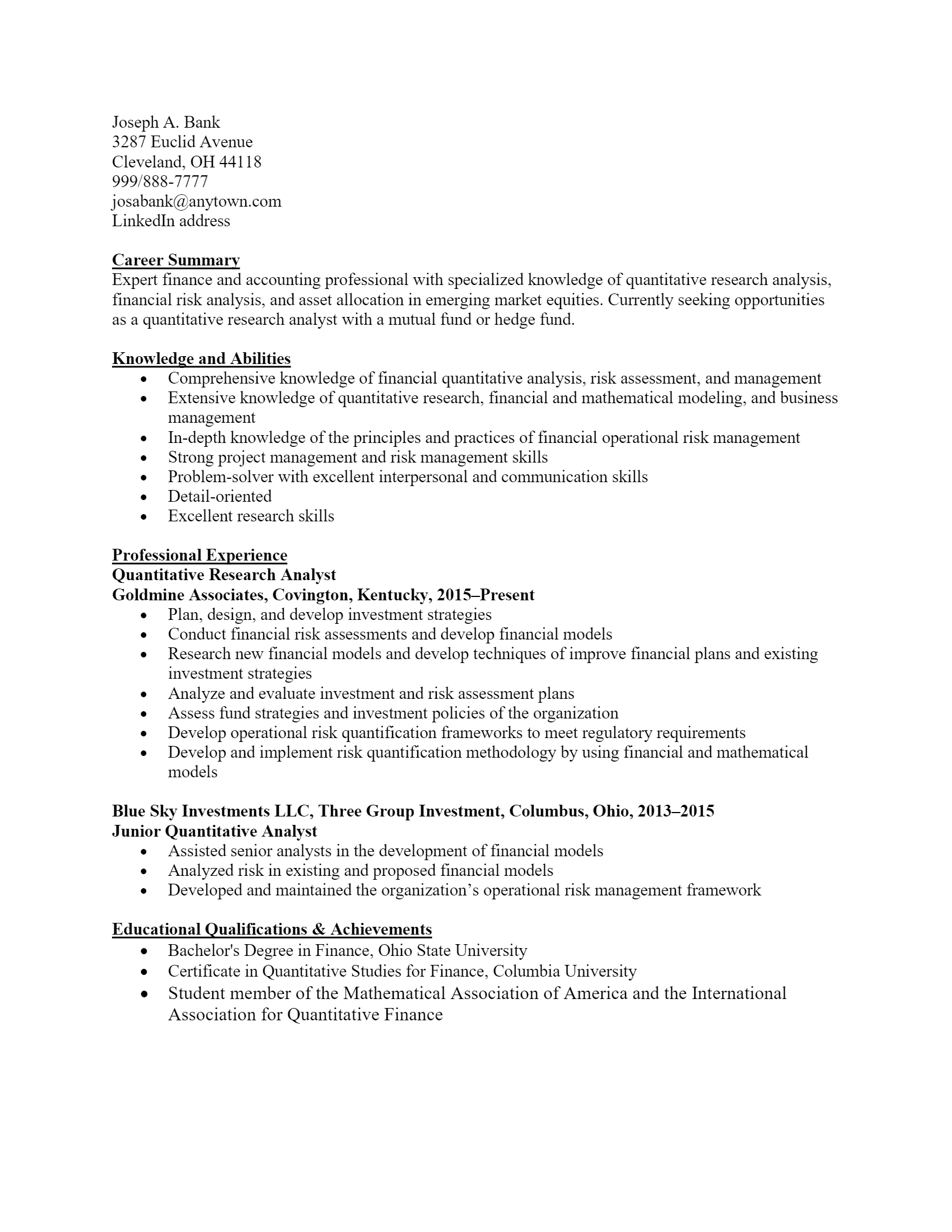 Research Analyst Resume .Docx (Word)