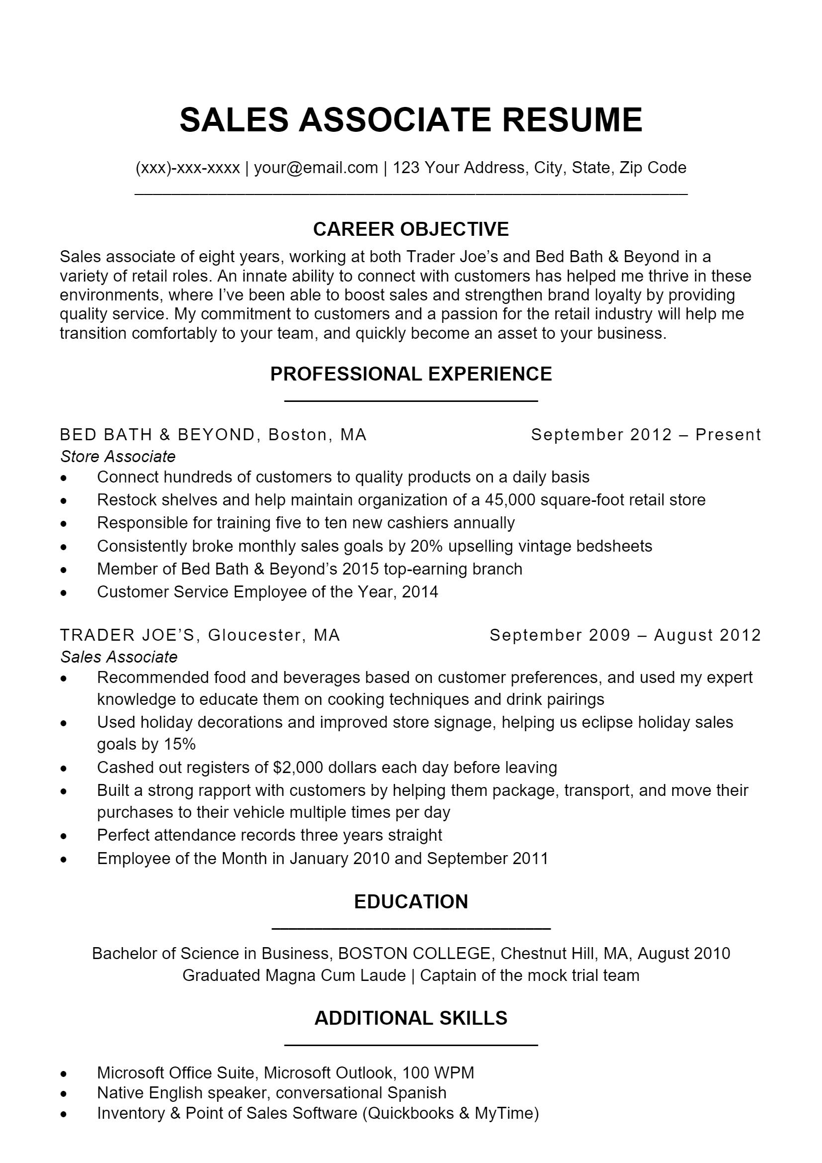 Sales Associate Resume > Sales Associate Resume .Docx (Word)