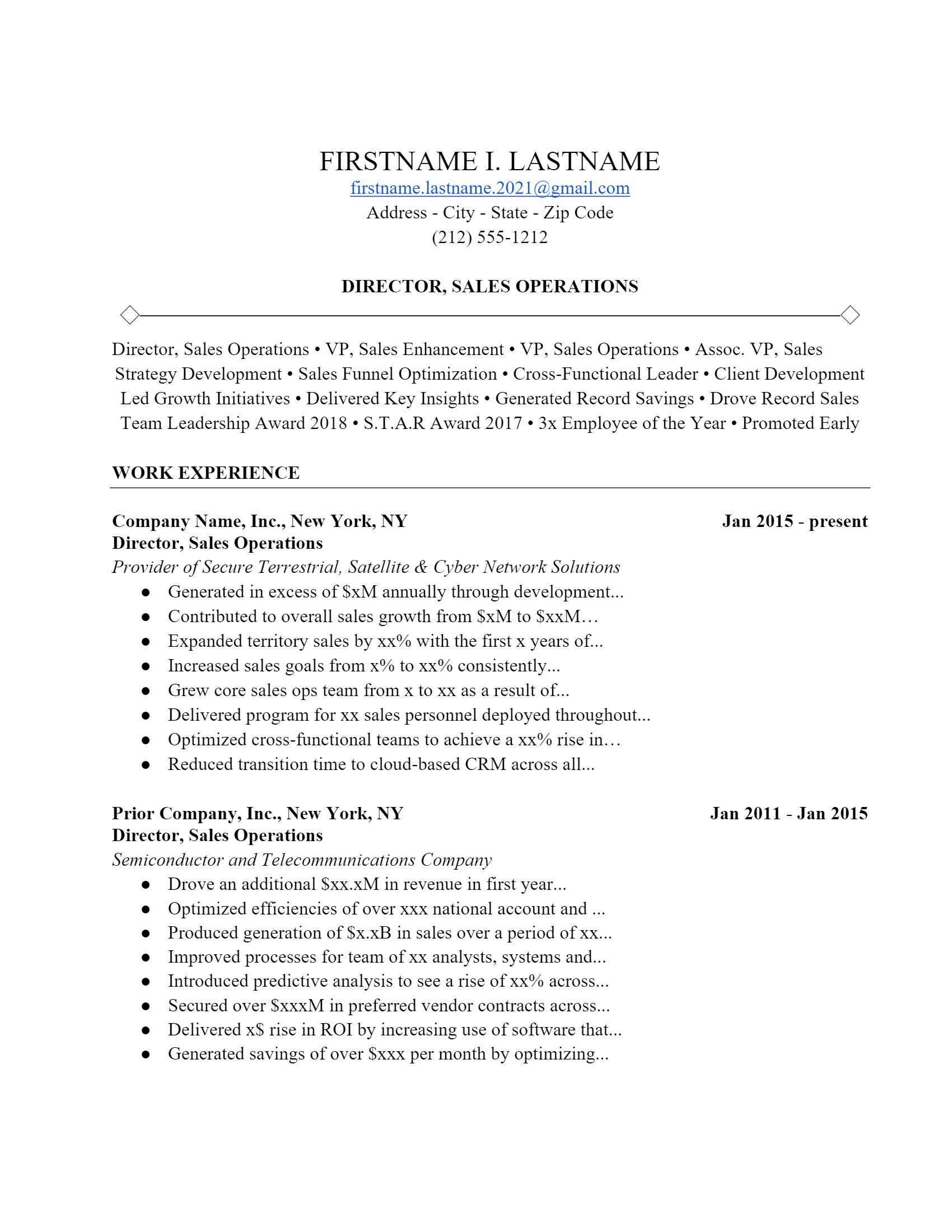 Sales Operator Resume > Sales Operator Resume .Docx (Word)
