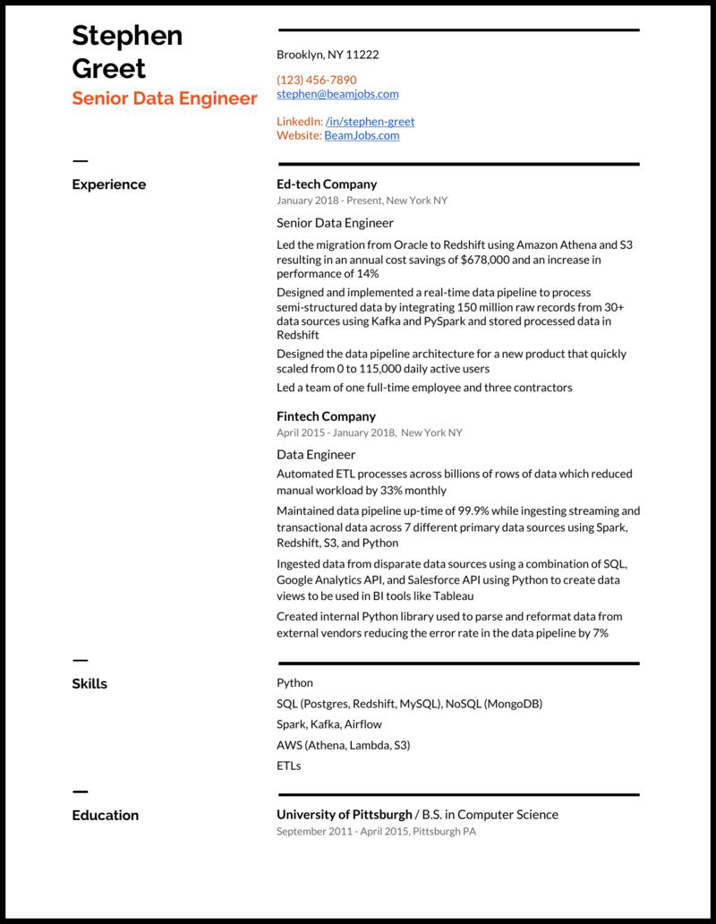 Senior Data Engineer Resume Example