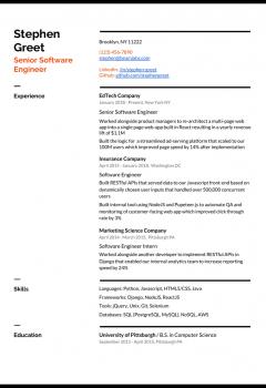 Senior Software Engineer Resume Example