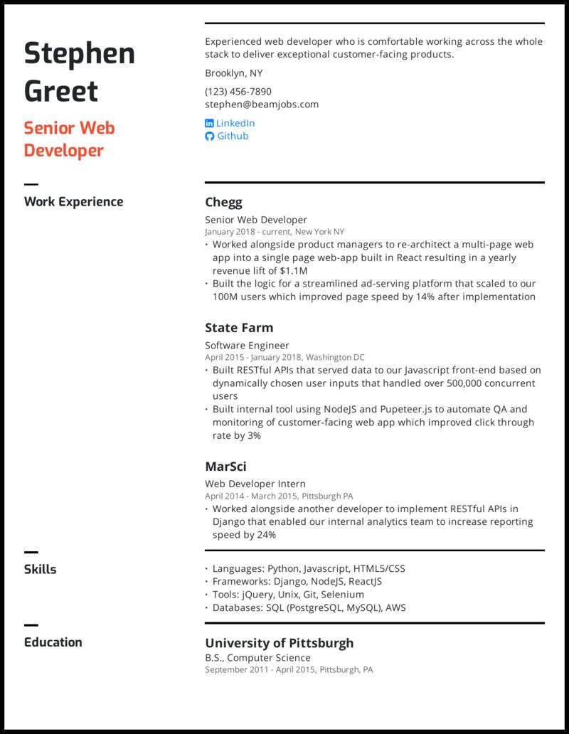 Senior Web Developer Resume Sample