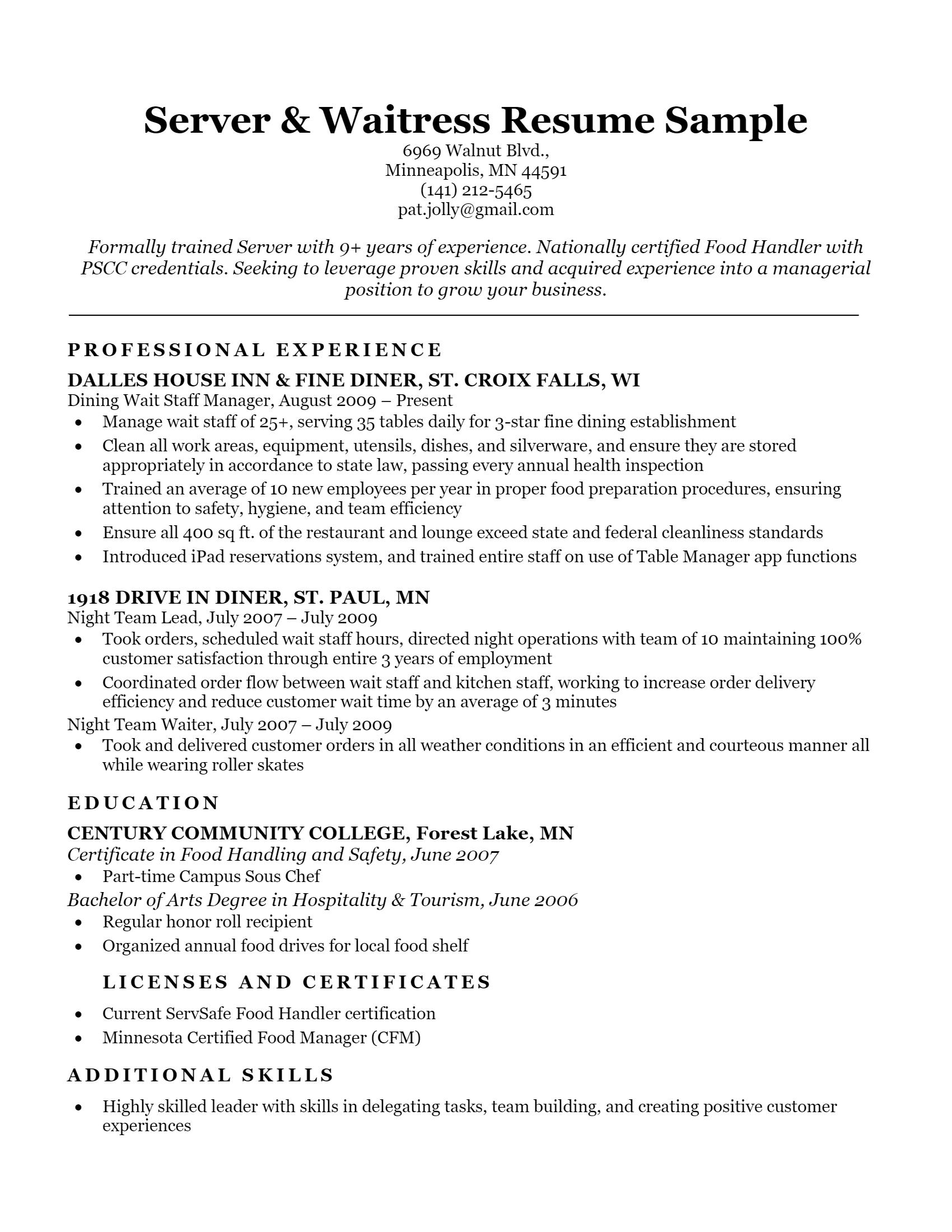 Server Resume > Server Resume .Docx (Word)