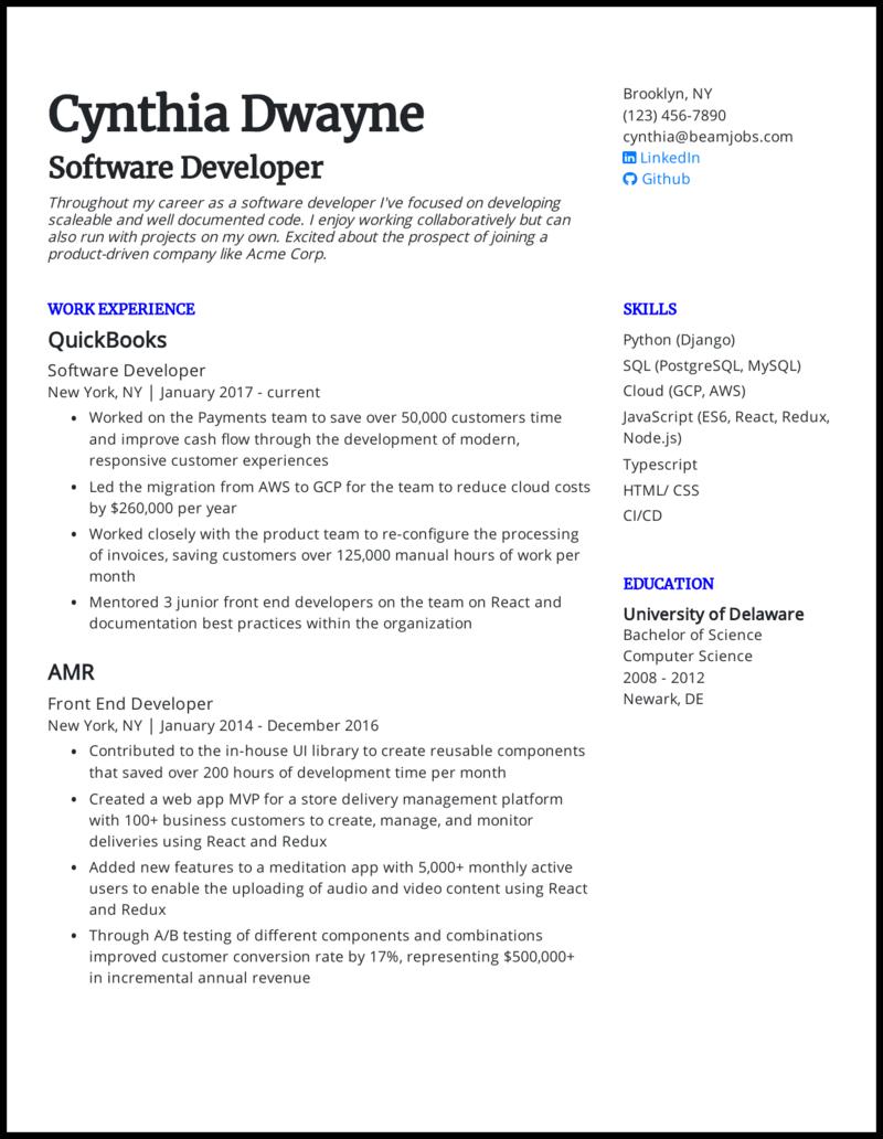 Software Developer Resume Sample