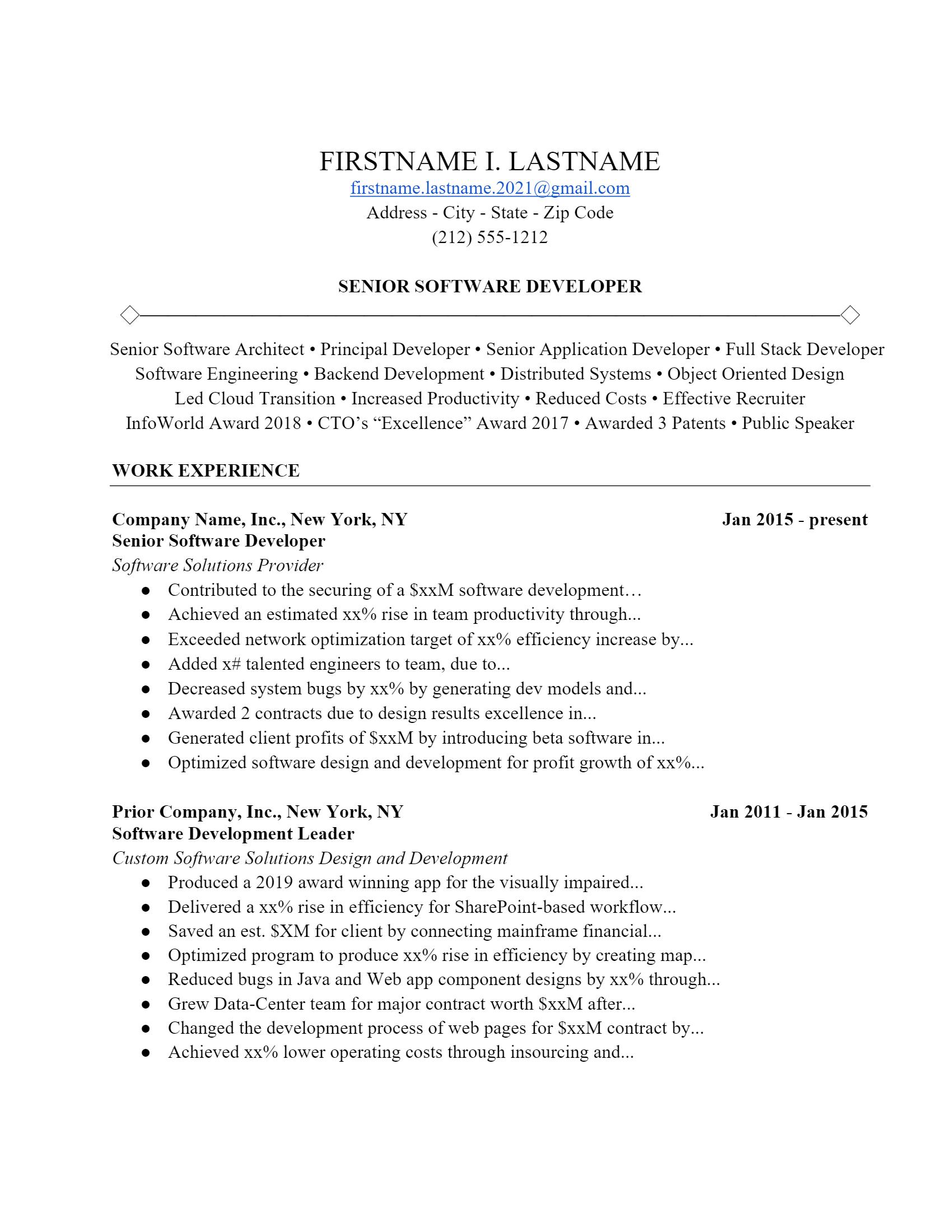 Software Developer Resume > Software Developer Resume .Docx (Word)
