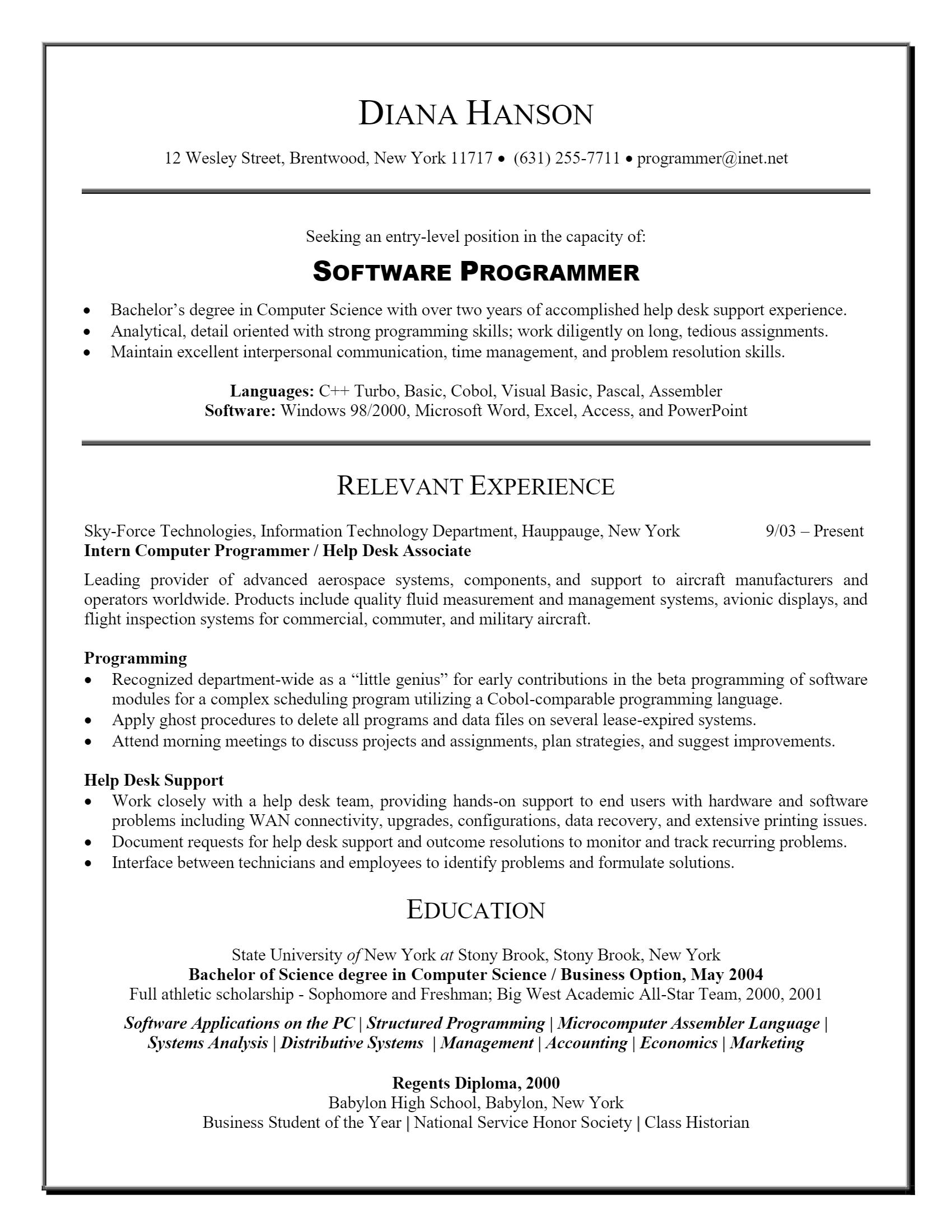 Software Programmer Resume .Docx (Word)