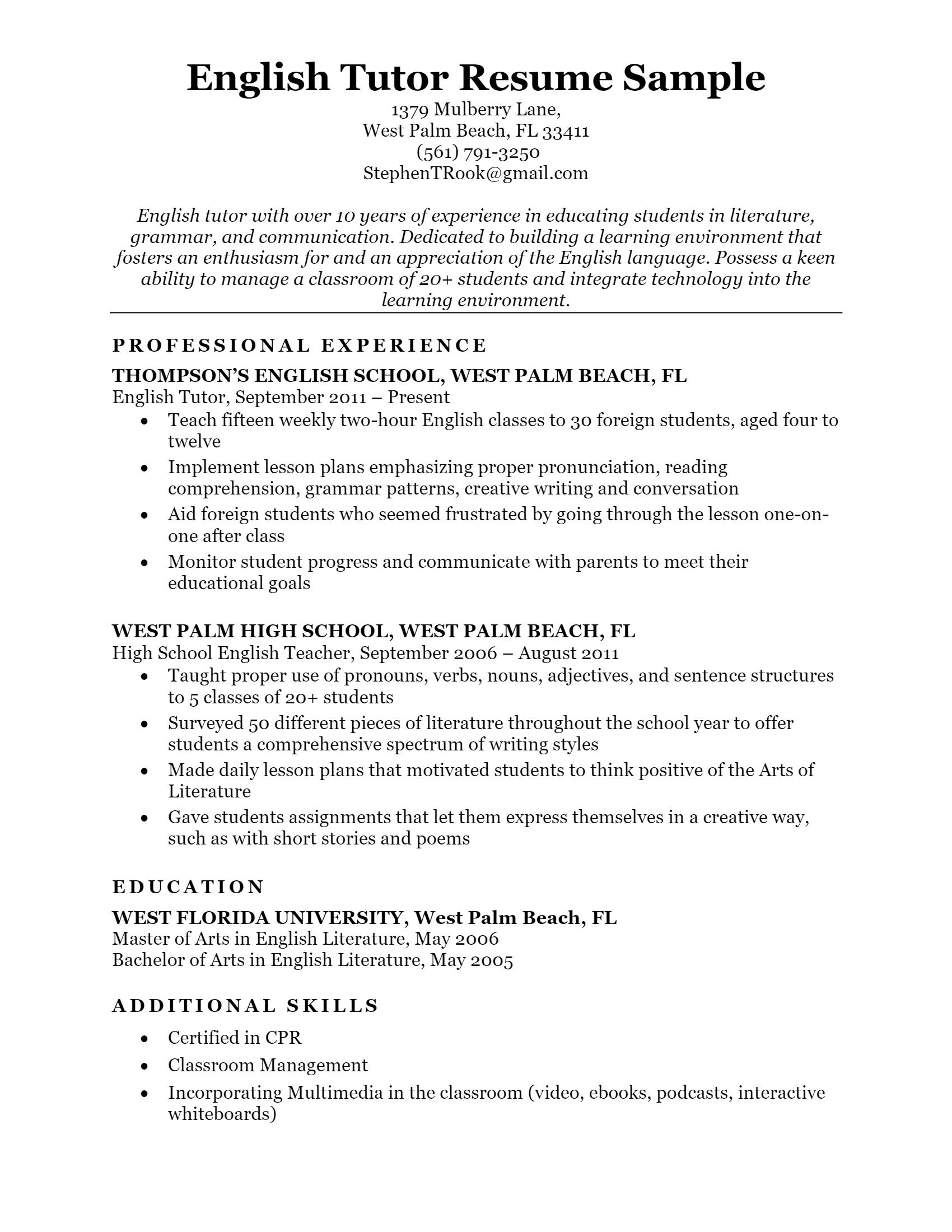 Tutor Resume > Tutor Resume .Docx (Word)