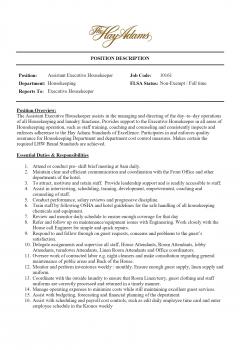 Assistant Housekeeper > Assistant Housekeeper .Docx (Word)
