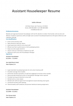 Assistant Housekeeper .Docx (Word)