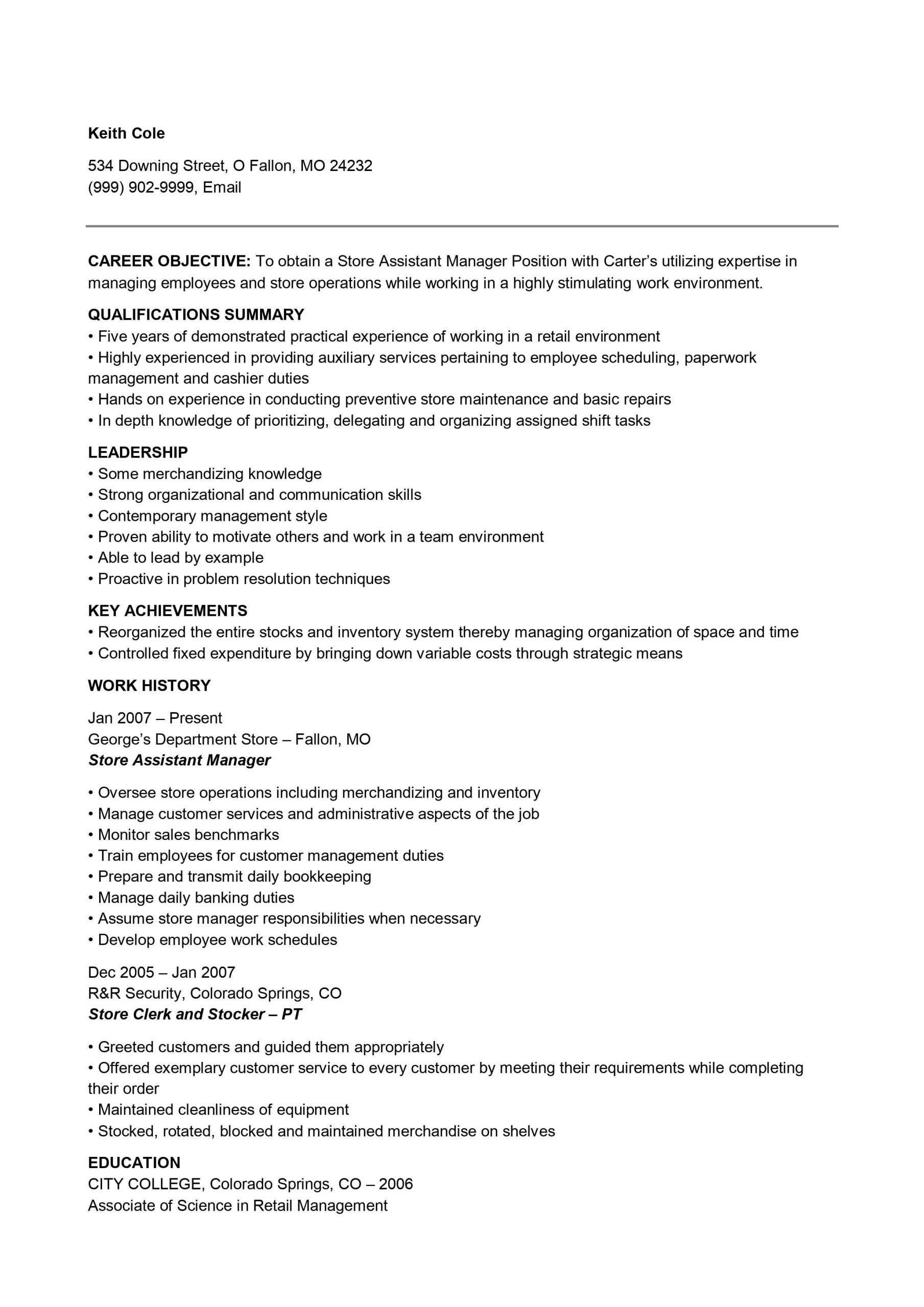 Store Manager Assistant .Docx (Word)