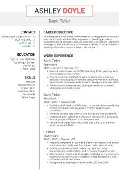 Bank Teller Resume .Docx (Word)