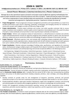 Construction Project Manager Resume .Docx (Word)