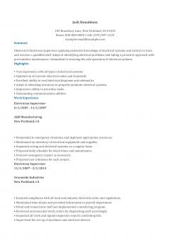 Electrician Supervisor Resume .Docx (Word)