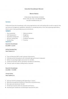 Executive Housekeeper Resume .Docx (Word)